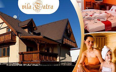 3 dny pro 2 osoby ve Vysokých Tatrách v penzionu Vila Tatra se snídaněmi a vstupem do sauny!! Užijte si svěžího horského vzduchu a vyrazte na parádní zimní dovolenou!!