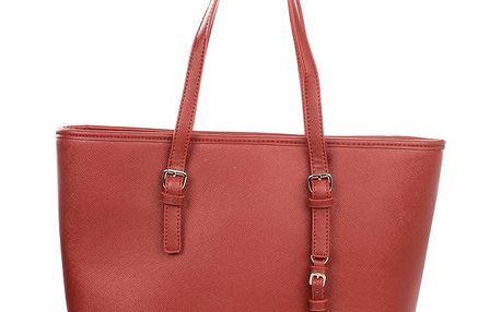 Dámská červená kabelka s přívěskem London fashion