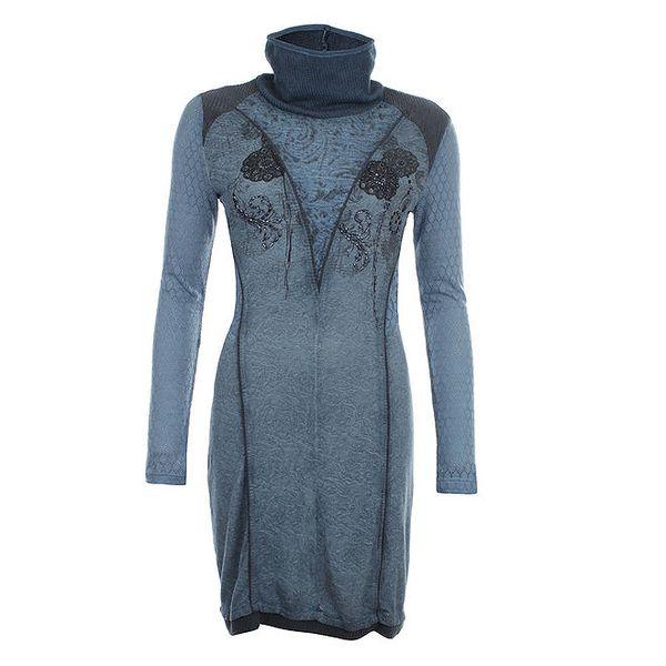 Dámské indigově modré šaty s rolákem a dekorativními korálky Angels Never Die