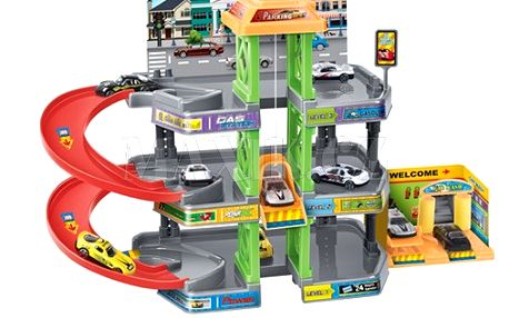 KidsHome Garáž 2 patra s autoservisem a 4 auta