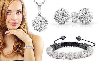 Krásný set Shamballa: náramek, náušnice i náhrdelník