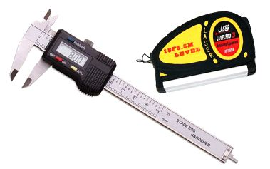 Laserová vodováha a digitální posuvné měřítko