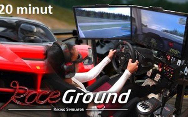 20 minut jízdy na 3D závodních automobilových simulátorech. Usedněte za volant nadupaného sporťáku!