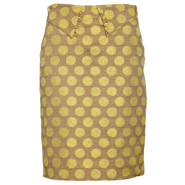 Dámská hnědo-žlutá pouzdrová sukně Pietro Filipi s velkými puntíky