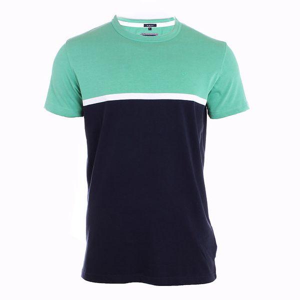 Pánský dvoubarevné modré tričko s bílým pruhem Pietro Filipi