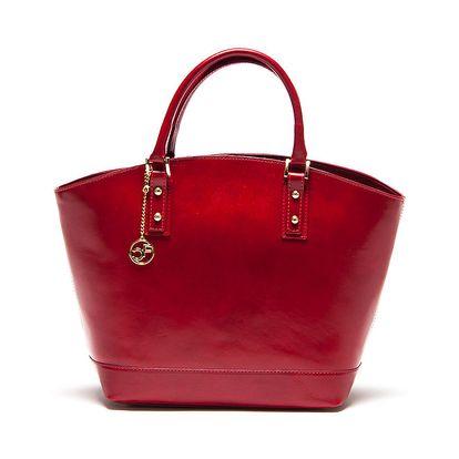 Dámská karmínově červená kožená kabelka Carla Ferrari