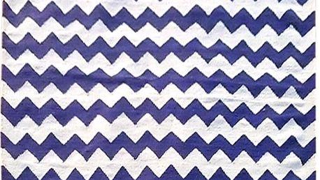 Vlněný koberec Kilim Design Two Blue, 160x230 cm - doprava zdarma!