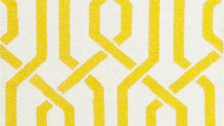 Vlněný koberec Camilla Yellow, 60x90 cm