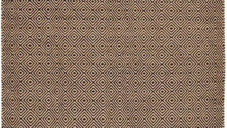 Vlněný koberec Dark Brown Pattern Kilim, 150x215 cm - doprava zdarma!