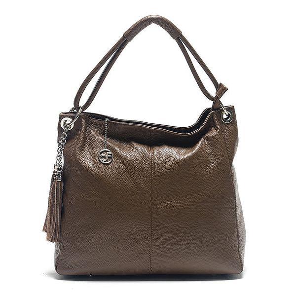 Dámská hnědá kožená kabelka s ozdobnými střapci Carla Ferreri