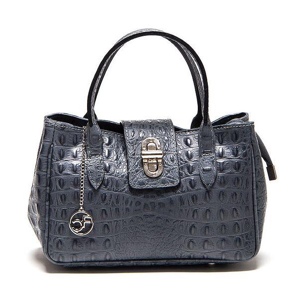 Dámská šedá kožená kabelka s krokodýlím vzorem Carla Ferreri