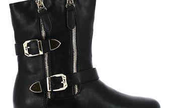Dámské černé kotníkové boty se zlatými přezkami Shoes and the City