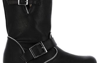 Dámské černé boty s ozdobným zipem Shoes and the City