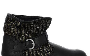 Dámské černé kotníkové boty se zlatým zdobením Shoes and the City