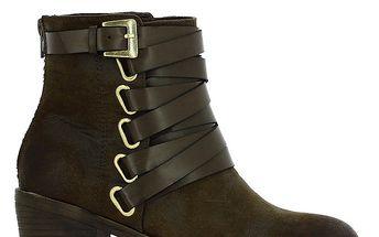 Dámské hnědé kotníčkové boty s páskem Shoes and the City