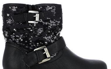Dámské černé boty s flitry Shoes and the City