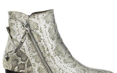 Dámské světle šedé kotníčkové boty s hadím vzorem Shoes and the City