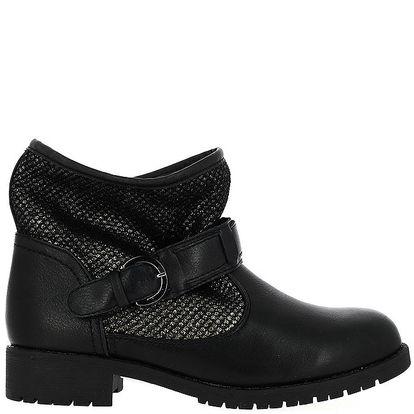 Dámské černé kotníkové boty se stříbrným zdobením Shoes and the City