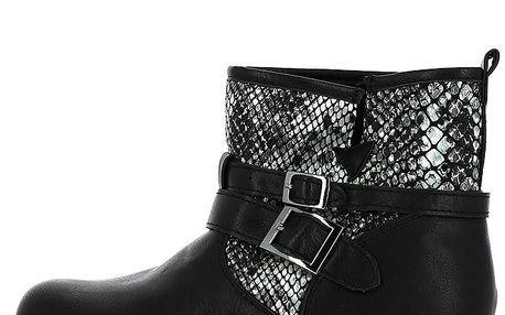 Dámské černé kotníkové boty se vzorem hadí kůže Shoes and the City