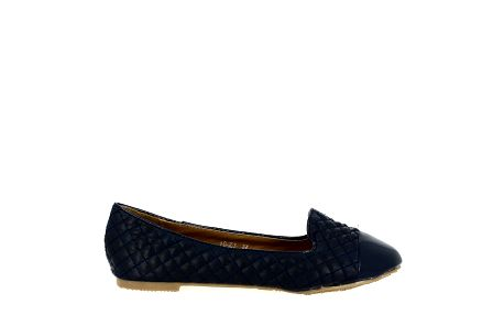 Dámské tmavě modré prošívané balerínky s lesklou špičkou Shoes and the City