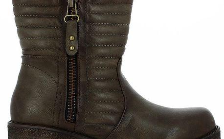 Dámské hnědé nízké kozačky se zipem Shoes and the City