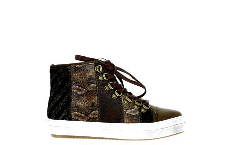 Dámské hnědé kotníkové tenisky s hadím vzorem Shoes and the City
