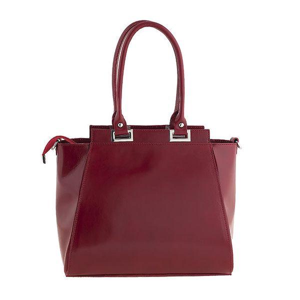 Dámská červená kožená kabelka s pevnými poutky Ore 10