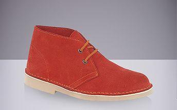 Pánské cihlově červené kožené kotníkové boty Route21