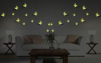 12 ve tmě svítících 3D samolepek Ambiance Butterflies