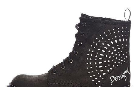 Dámské černé šněrovací kotníkové boty Desigual