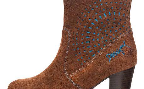 Dámské kotníčkové hnědé kožené boty na podpatku s tyrkysovými detaily Desigual