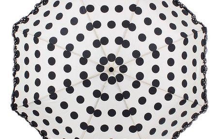 Dámský krémový skládací deštník s puntíky Ferré Milano