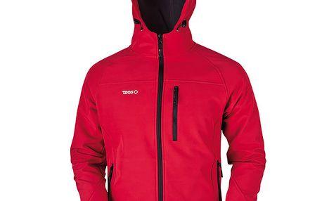 Pánská červená softshellová bunda s černým zipem Izas