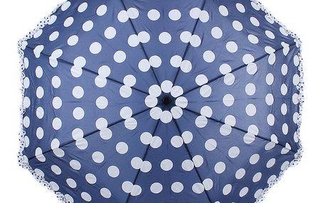 Dámský modro-bílý puntíkatý skládací deštník Ferré Milano