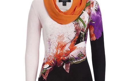 Dámský oranžově vzorovaný svetřík s šátkem Imagini