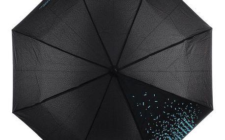 Dámský černý skládací deštník s modrým nápisem Ferré Milano