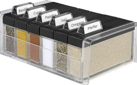 Box na koření s 6 přihrádkami Spice Box, černý