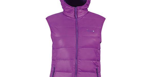 Dámská péřová fialová vesta s kapucí Izas