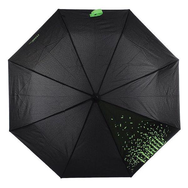 Dámský černý skládací deštník se zeleným nápisem Ferré Milano