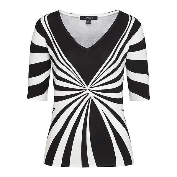 Dámský černobílý svetr s kratšími rukávy Imagini