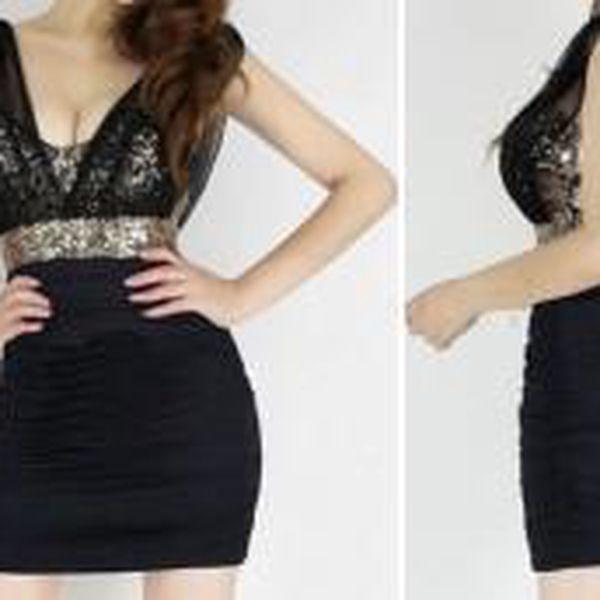 Stylové společenské černé šaty s flitry