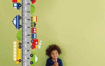 Samolepkový metr na zeď Metr a auta, 160 cm