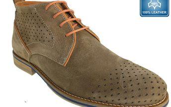 Pánské šedohnědé boty s perforací Beppi