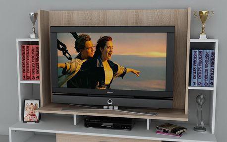 Televizní stěna Teatro White,39x160x114,6 cm