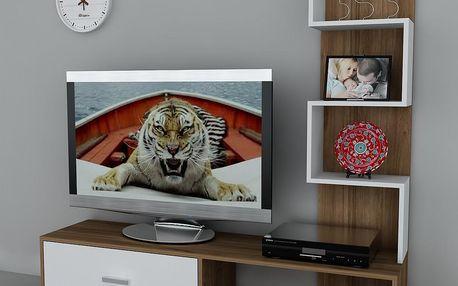 Televizní stěna Akay Walnut/White, 39x160x160 cm