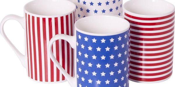 Sada 4 porcelánových hrnků Stars and Stripes
