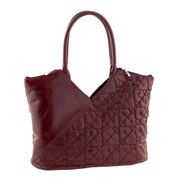 Dámská červená kožená kabelka se srdíčky Tina Panicucci