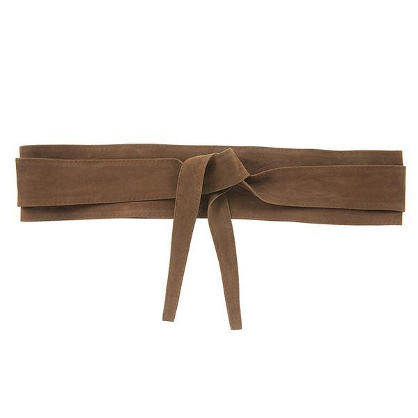 Dámský hnědý kožený zavazovací pásek Tina Panicucci