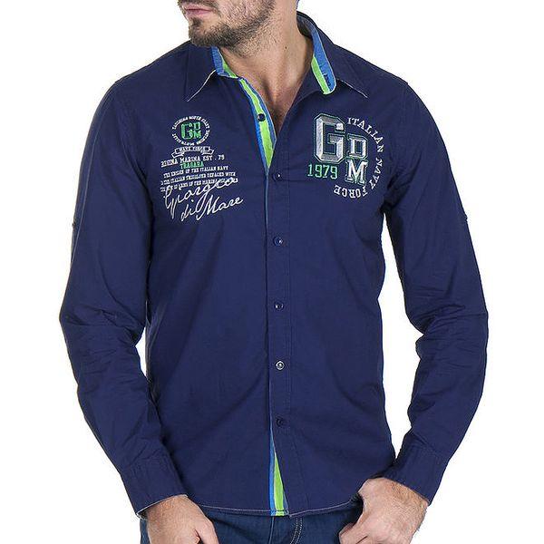Pánská tmavě modrá košile s výšivkami na hrudi Giorgio Di Mare