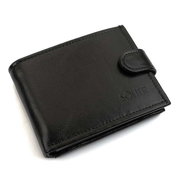 Pánská černá kožená peněženka s přezkou Solier